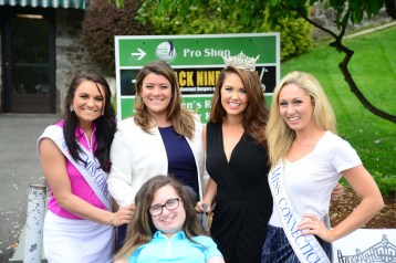 Emma Goldsberry, front, poses with Miss Connecticut's Outstanding Teen Brooke Cyr, back left, New Britain Mayor Erin Stewart, Miss America Cara Mund, and Miss Connecticut Eliza Kanner.