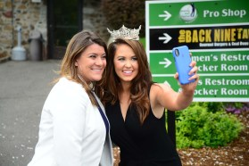 New Britain Mayor Erin Stewart, left, with Miss America Cara Mund.