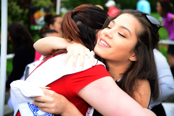 Miss Fairfield County Sylvana Gonzalez, right, hugs Miss Naugatuck Valley Courtney Ouellete