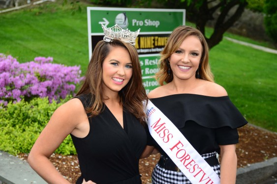Miss America Cara Mund, left, with Miss Forestville Jillian Duffy.