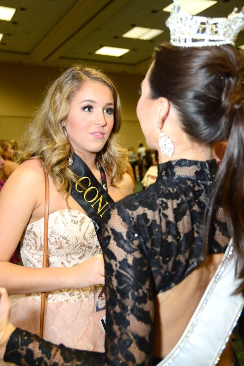 Miss Connecticut Bridget Oei offers words of encouragement and advice to Miss Connecticut's Outstanding Teen Morgan Mancini.