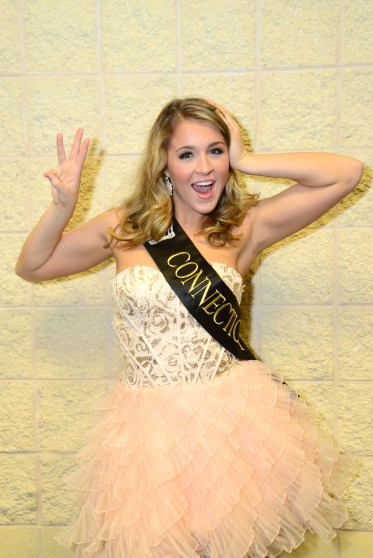 Miss Connecticut's Outstanding Teen Morgan Mancini goofs around after the third night of competition.