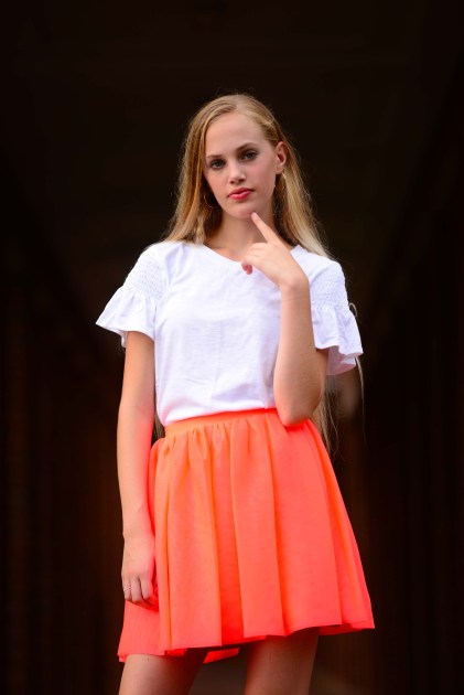 Model Caelyn Calhoun is wearing a tee-shirt from Target and a skirt from Target's Cat & Jack. Shoes are the model's own.