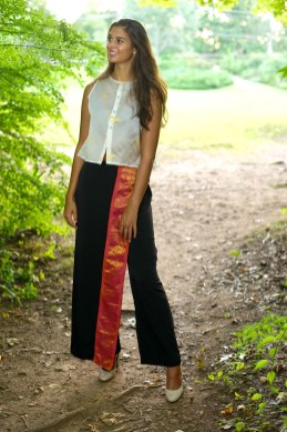 Model Becca Kearns wears a blouse from Of the Land and slacks from Soul Threads from Workspace Collective, a store in Danbury that used to specialize in sustainable fashions. MIKE CHAIKEN PHOTO