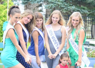 Miss Connecticut's Outstanding Teen Morgan Mancini, second from the left, poses for a group photograph.