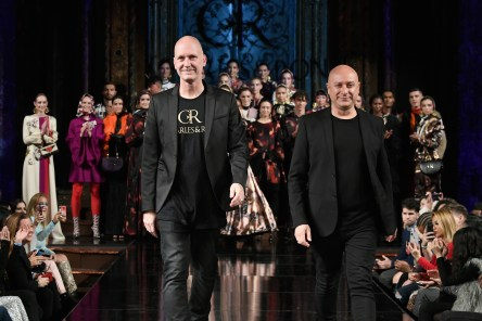 NEW YORK, NY - FEBRUARY 09: Designers Charles and Ron walk the runway for CHARLES AND RON At New York Fashion Week Powered By Art Hearts Fashion NYFW at The Angel Orensanz Foundation on February 9, 2019 in New York City. (Photo by Arun Nevader/Getty Images)