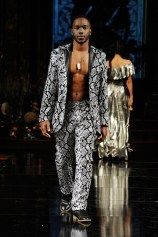 NEW YORK, NY - FEBRUARY 10: Marcus Peterson walks the runway for MISTER TRIPLE X At New York Fashion Week Powered By Art Hearts Fashion NYFW at The Angel Orensanz Foundation on February 10, 2019 in New York City. (Photo by Arun Nevader/Getty Images)