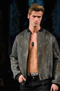 NEW YORK, NY - FEBRUARY 10: Wyatt Engeman walks the runway for MISTER TRIPLE X At New York Fashion Week Powered By Art Hearts Fashion NYFW at The Angel Orensanz Foundation on February 10, 2019 in New York City. (Photo by Arun Nevader/Getty Images)