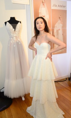 A model wears a piece from Jila Atelier during The Knot Couture bridal showcase during New York Bridal Fashion Week on April 14.