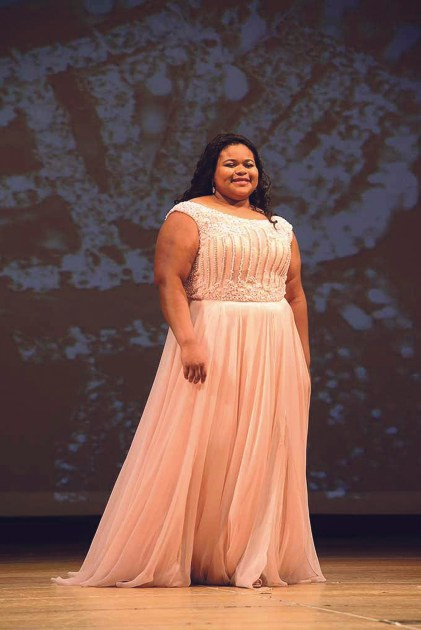 Zorri McCray of Waterbury, Con. walks the stage at the Miss Naugatuck Valley's Outstanding Teen 2018 pageant. MIKE CHAIKEN PHOTO