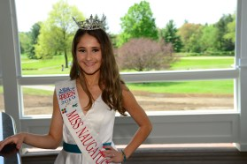 Miss Naugatuck Valley's Outstanding Teen Autumn Schless stands on the deck at Hop Meadow Country Club for her fund raiser to benefit Food Allergies Research and Education (MIKE CHAIKEN PHOTO)