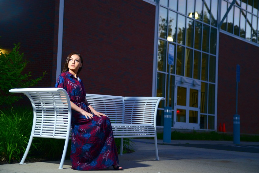 Model Iraima Lopez wears a New Day dramatic maxi dress in navy and red from Target (Target.com).