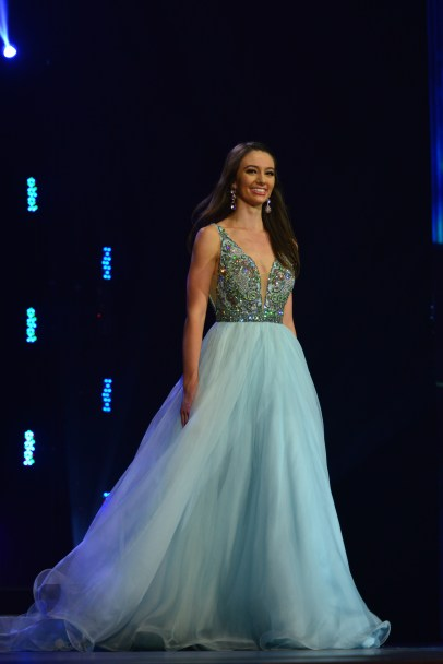 Payton May in the evening gown portion of the Miss America's Outstanding Teen Competition.