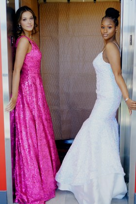 Allie Maisto, left, and Aicha Diallo wear gowns from Panapoly.