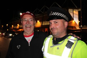 Ken and the long arm of the law. He did actually get a lift back from Crewe in a police car......