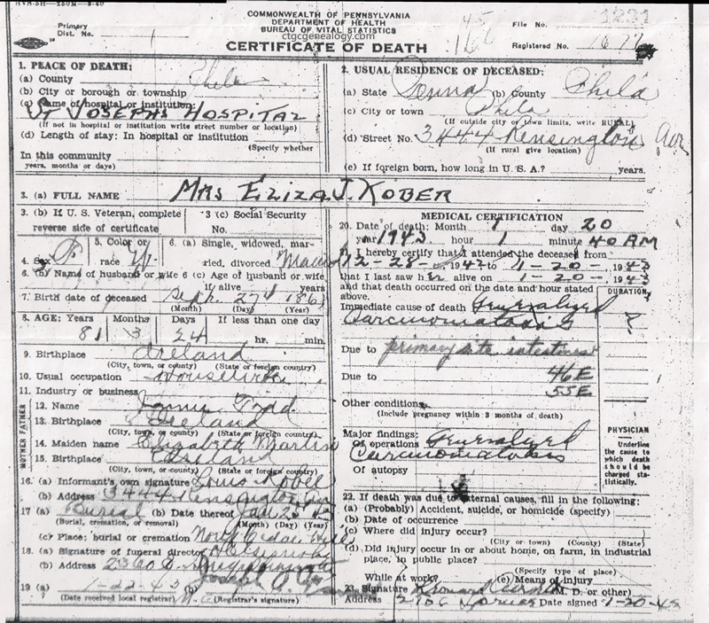 Birth Certificate New Castle Pennsylvania