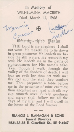 Image of funeral card, transcribed text & 23rd psalm