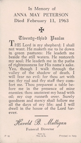 Image of funeral card with text transcribed and 23rd psalm