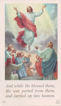 Catherine Carman Funeral Card reverse, illustration of Jesus ascending into heaven