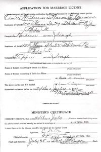 Marriage license of OW Garrison & NE Carman