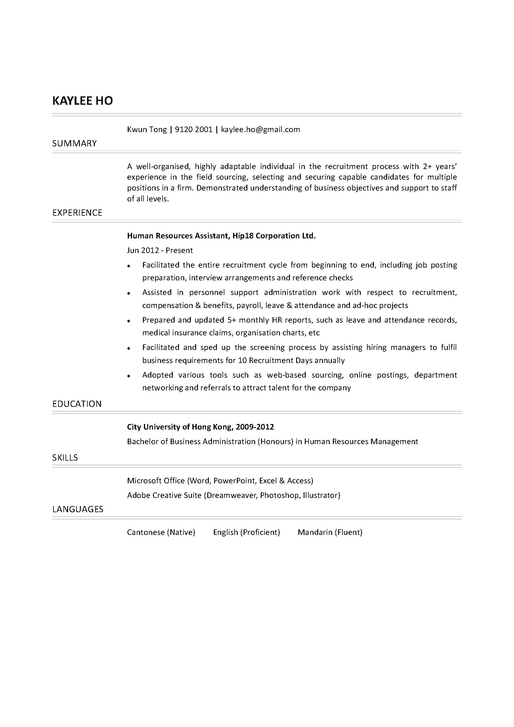 Sample Human Resource Assistant Resume Business