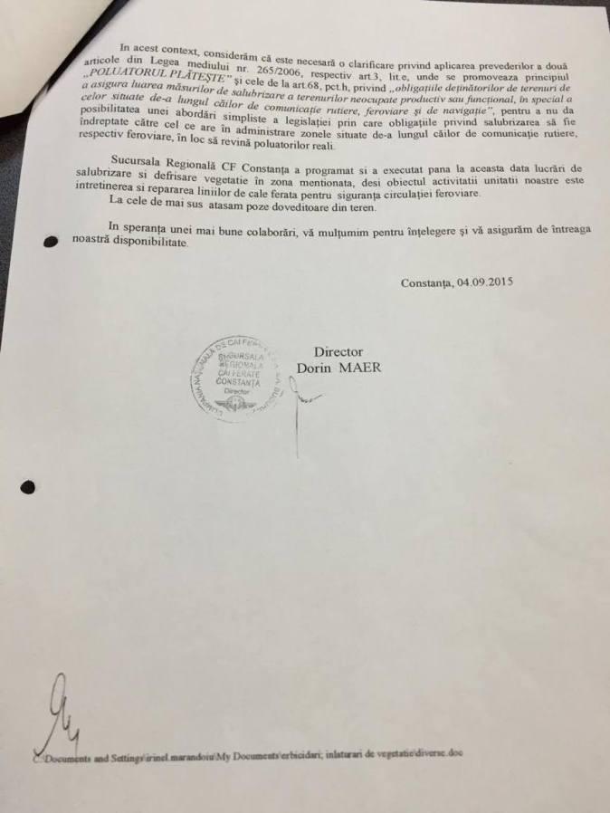 Adresa SNCFR transmisă Primăriei Constanța - pagina 2