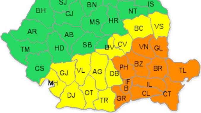 Județele afectata de Codul Portocaliu. FOTO meteoromania.ro