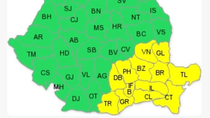 Județele afectate de codul galben de vânt