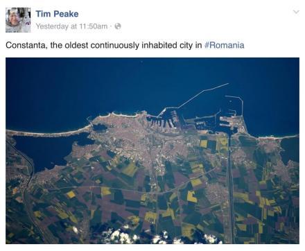 Postarea lui Tim Peake de pe Facebook