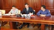 Conducerea Consiliului Județean Constanța: Daniel Learciu (stânga), Horia Țuțuianu (centru) și Claudiu Palaz (dreapta). FOTO Adrian Boioglu