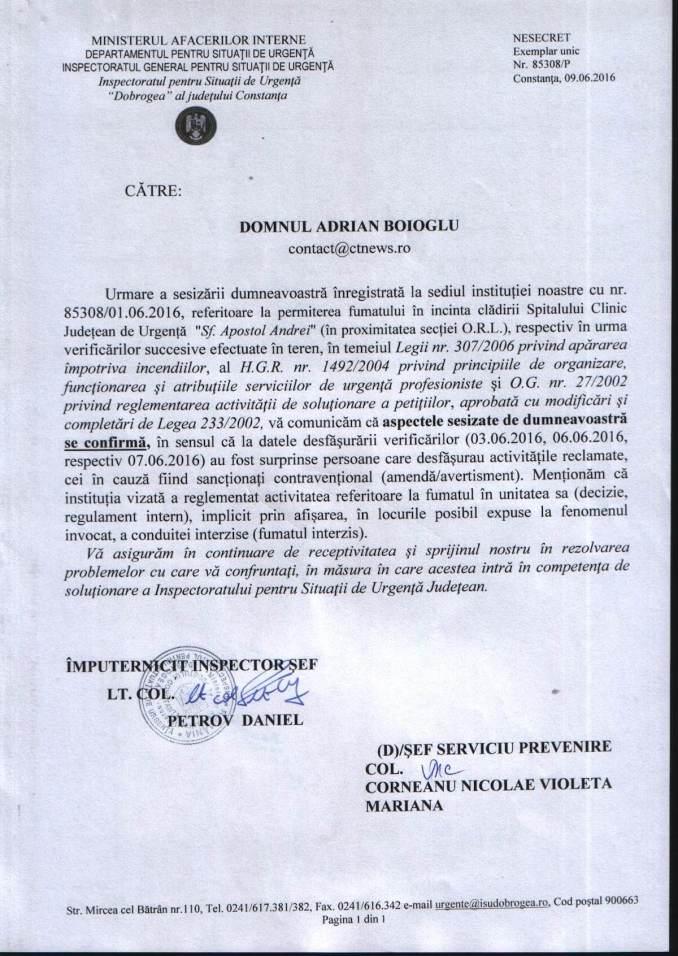 Răspuns ISU Dobrogea - fumători în Spitalul de Urgență Constanța