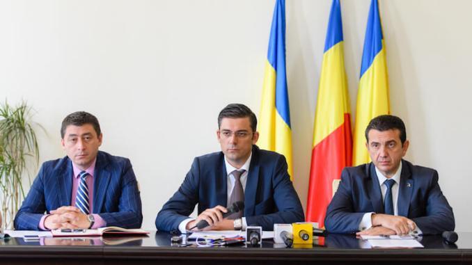 Conducerea CJ Constanța: Daniel Learciu, Horia Țuțuianu, Claudiu Palaz