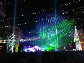 Jocul de lasere de la Revelion 2017 în Piața Ovidiu
