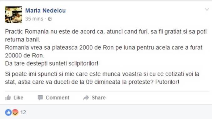 Mesajul postat de Sabrina Maria Nedelcu, consilier PSD. FOTO Constanta.ro