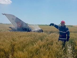 MIG 21 LanceR, prăbușit la Nazarcea. FOTO ISU Dobrogea