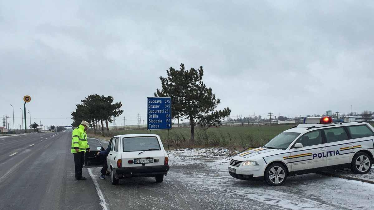 Politie Rutiera iarna la iesire din oras (1)