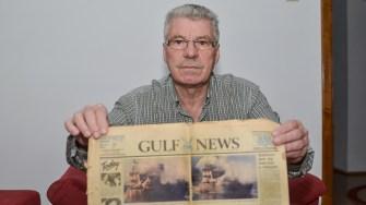 Dimitrache Delicote cu o amintire de acum 30 de ani - articol pe prima pagină cu nava Fundulea a ziarului Gulf News din Dubai din 24 noiembrie 1987. FOTO Cătălin Schipor