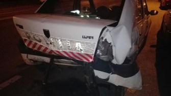 Autospeciala Poliției a fost serios avariată în urma accidentului rutier. FOTO IPJ Constanța