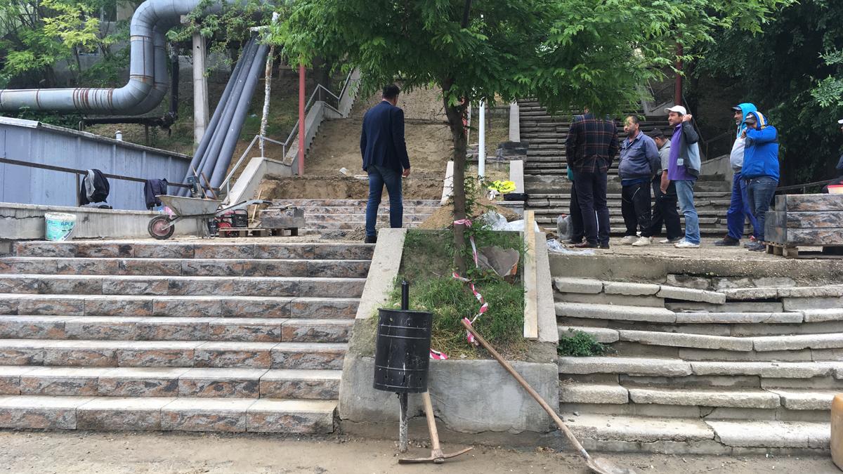 Lucrări de reabilitare a scărilor din Cernavodă. FOTO CTnews