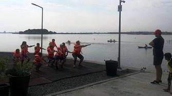 Antrenamentele de caiac - canoe încep cu puțină condiție fizică. FOTO CSO Ovidiu
