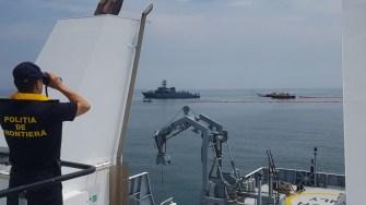 Scenariul prevede o coliziune între două nave, urmată de o poluare masivă. FOTO ISU Dobrogea