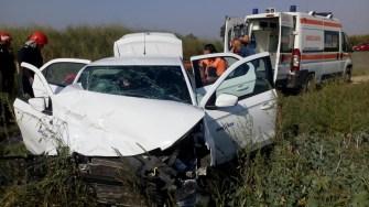Accident rutier la Hanul Morilor. FOTO ISU Dobrogea