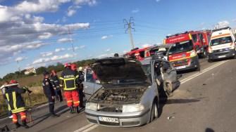 Manevra șoferului a dus la producerea unui accident rutier. FOTO IPJ Constanța