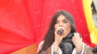 Paula Seling la inaugurarea grupului statuar Ovidiu din orașul Ovidiu. FOTO CTnews.ro