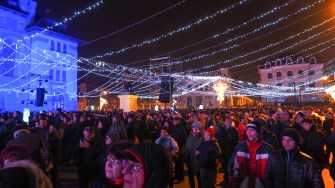 Petrecerea de revelion din Piața Ovidiu. FOTO Cătălin SCHIPOR