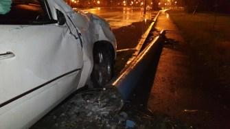Mașina a fost grav avariată în urma dublului impact. FOTO IPJ Constanța
