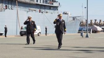 Contraamiral de flotilă Mihai Panait, locțiitor al Șefului Statului Major al Forțelor Navale Române a fost prezent la plecarea NS Mircea în misiune. FOTO Cătălin SCHIPOR