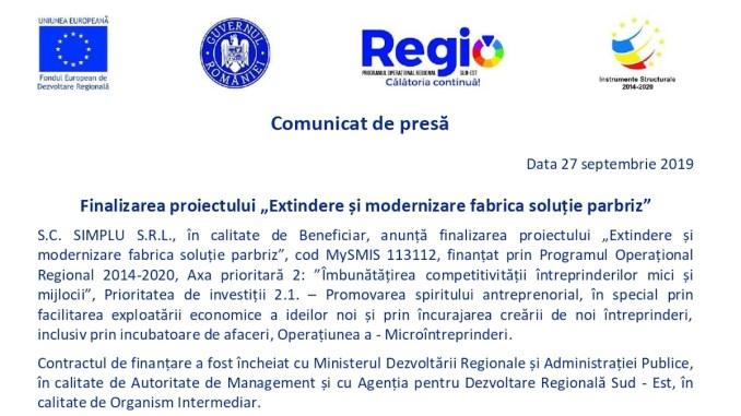 """Finalizarea proiectului """"Extindere și modernizare fabrica soluție parbriz"""""""