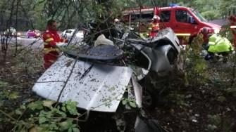 În urma accidentului, mașina a fost grav avariată, iar șoferul a decedat pe loc. FOTO ISU Dobrogea