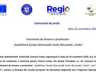 """Eveniment de lansare a proiectului """"Reabilitare Şcoala Gimnazială Vasile Alecsandri, Corbu"""""""